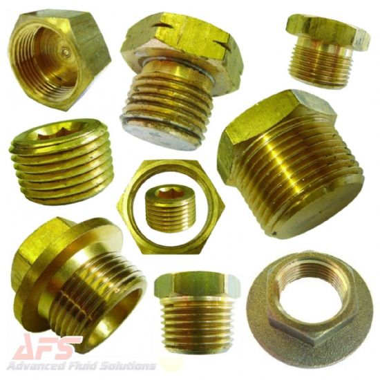 Brass Caps, Plugs & Bungs, Lock Nuts BSPT/BSP/NPT/METRIC Threads